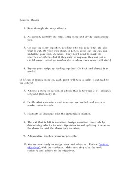 Student Directions for creating readers theater