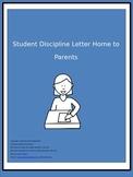 Student Discipline Letter Home to Parents