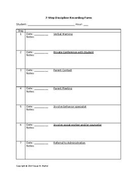 Student Discipline Recording Forms