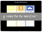 Student Dismissal Tags and List - Chevron Color Coded