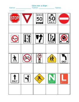 Student Driving Road Sign Test/Worksheet
