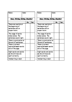 Student Editing Checklist for Diary Writing