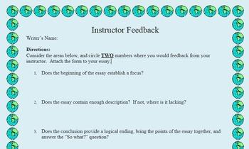 Student Editing Instructor Feedback Form