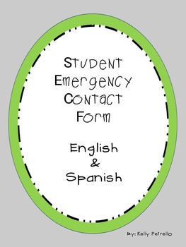 Student Emergency Contact Card (English & Spanish)