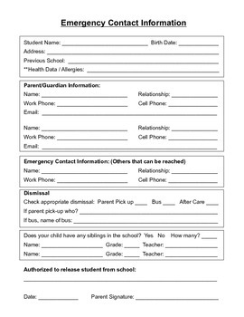 Student Emergency Contact Form (English And Spanish)