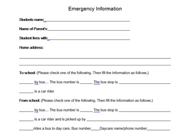 Student/Emergency Info