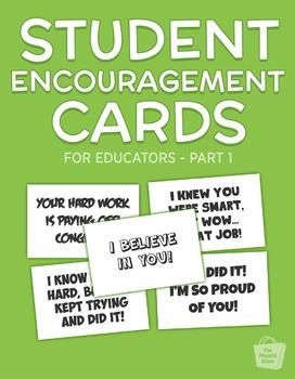 ★ Student Encouragement Cards - Part 1   PDF Printables ★