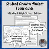 Back to School or End Year Growth Mindset Focus Guide & Li