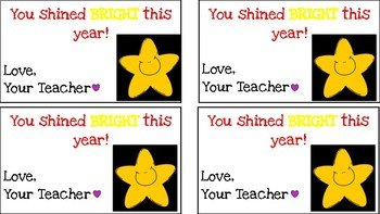 Student End-of-the-Year Gift Tags