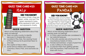 Student Engagement Quiz Time Cards