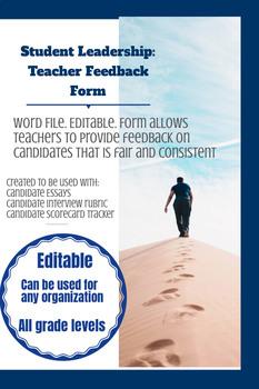 Candidate Evaluation Form: Teacher Feedback