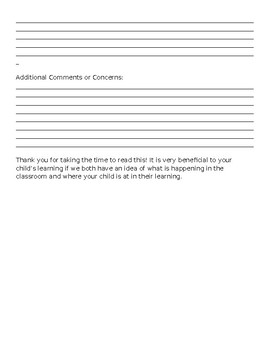 Student Evaluation Form for Parent Conferences/End of Year