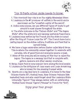 Student Fact Sheet about Louisiana