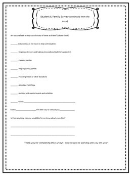 Student & Family Survey Freebie