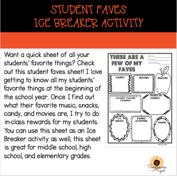 Student Faves/Ice breaker/Student Info