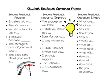 Student Feedback Sentence Frames by If You Give a Teacher ...