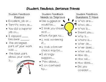 Student Feedback Sentence Frames