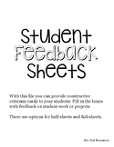 Student Feedback Sheets