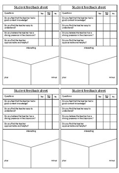 Student Feedback sheet for Teachers