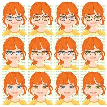 Student / Female / Girl / Auburn Hair / Clipart – Happy Heart Graphics