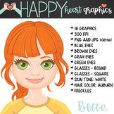 Student / Female / Girl / Auburn Hair / Clipart – Happy He