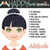 Student / Female / Girl / Black Hair / Clipart – Happy Hea