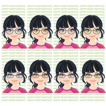 Student / Female / Girl / Black Hair / Clipart – Happy Heart Graphics