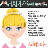 Student / Female / Girl / Blonde Hair / Clipart – Happy He