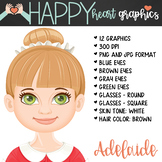Student / Female / Girl / Brown Hair / Clipart – Happy Hea