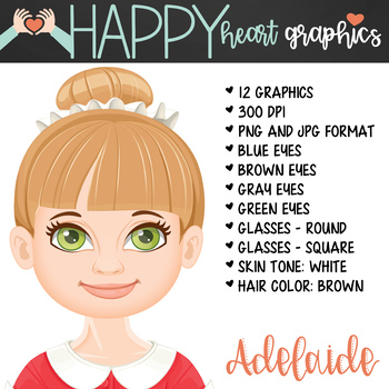 Student / Female / Girl / Brown Hair / Clipart – Happy Heart Graphics
