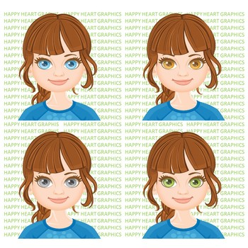 Student / Female / Girl / Brunette Hair / Clipart – Happy Heart Graphics