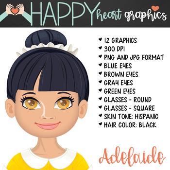 Student / Female / Girl / Hispanic / Black Hair / Clipart – Happy Heart Graphics