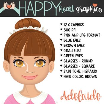 Student / Female / Girl / Hispanic / Brown Hair / Clipart – Happy Heart Graphics