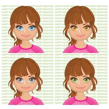 Student / Female / Girl / Hispanic / Brown Hair / Clipart – Happy Heart Graphics