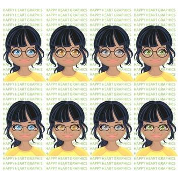 Student / Female / Girl / Kids of Color / Black Hair / Clipart – Happy Heart