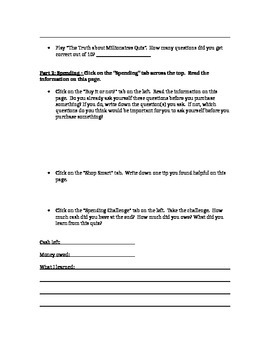 Student Financial Literary Worksheet
