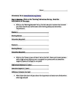 Student Financial Literary Worksheet