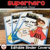 Student Folder Covers Superhero Theme (editable)