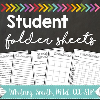Student Folder Sheets for Speech & Language Therapy