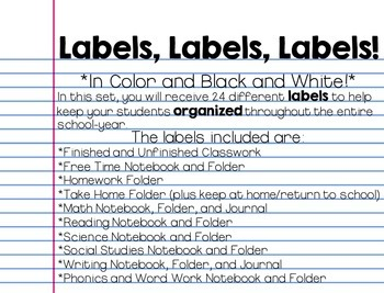 Student Folder and Notebook Labels {PDF and Editable}