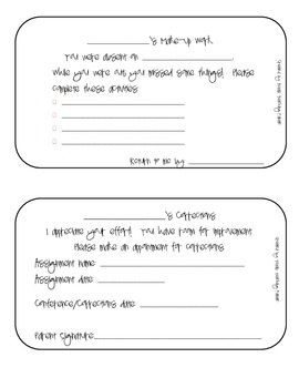 Student Forms for Make-Up Work and Corrections