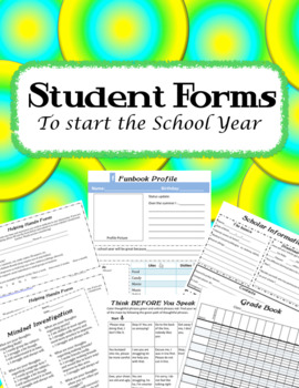 EDITABLE Student Forms and Gradebook Pages to Start the Sc