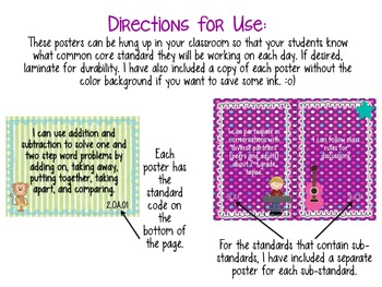 Student Friendly 2nd Grade Common Core Standards *JUNGLE* Theme {FULL PAGE}