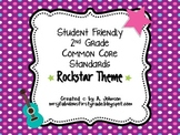 Student Friendly 2nd Grade Common Core Standards *ROCKSTAR* Theme {1/2 PAGE}