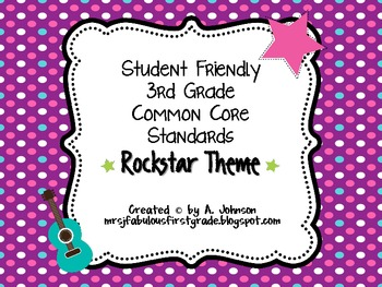 Student Friendly 3rd Grade Common Core Standards *ROCKSTAR* Theme