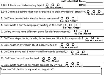 Student Friendly Checklist For Informational Lucy Calkins GRADES 1-2