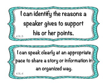 Student Friendly Common Core ELA I Can Statements - Turquoise Chevron Display