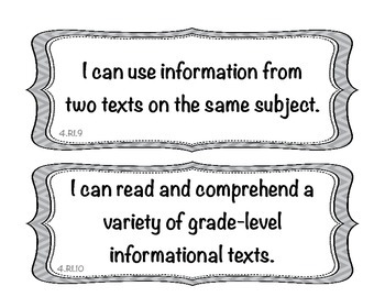 Student Friendly Common Core Grade 4 ELA I Can Statements - Gray Chevron Display