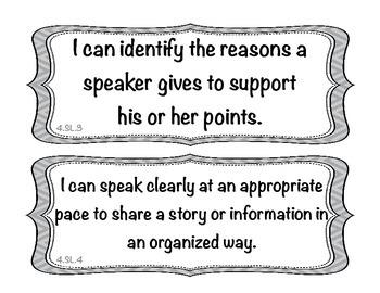 Student Friendly Common Core Grade 4 ELA I Can Statements - Gray Chevron Display