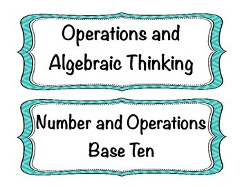 Student Friendly Common Core Math I Can Statements Grade 4 - Turquoise Chevron